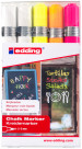 Edding 4095 Chalk Markers - Assorted Neon Colours (Wallet of 5)