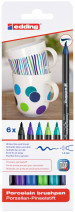 Edding 4200 Porcelain Brush Pens - Assorted Cool Colours (Blister of 6)