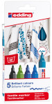 Edding 4500 Textile Markers - Assorted Cool Colours (Pack of 5)
