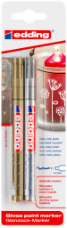 Edding 751 Gloss Paint Markers - Gold & Silver (Blister of 2)