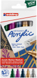 Edding 5100 Acrylic Paint Markers - Bullet Tip - Medium - Metallic Colours (Pack of 5)