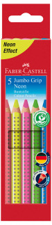 Faber-Castell Jumbo Grip Colouring Pencils - Assorted Neon Colours (Pack of 5)