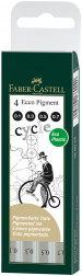 Faber-Castell Ecco Pigment Fineliner Pens - Black - Assorted Sizes (Pack of 4)