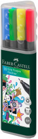 Faber-Castell Grip Finepen - Assorted Colours (Triangular Case of 10)