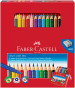 Faber-Castell Jumbo Grip Colouring Pens & Pencils - Assorted Colours (Combi Box of 22)