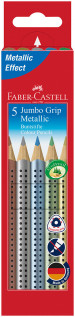 Faber-Castell Jumbo Grip Colouring Pencils - Assorted Metallic Colours (Pack of 5)