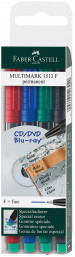 Faber-Castell Multimark Permanent Marker - Fine - Assorted Colours (Pack of 4)
