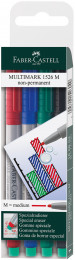 Faber-Castell Multimark Non-Permanent Marker - Medium - Assorted Colours (Pack of 4)