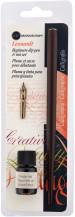 Manuscript Dip Pen Set - Round Hand Nib, Holder & Sepia Ink