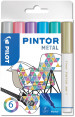Pilot Pintor Marker Pen - Fine Bullet Tip - Metallic Colours (Pack of 6)