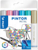 Pilot Pintor Marker Pen - Medium Bullet Tip - Metallic Colours (Pack of 6)