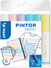 Pilot Pintor Marker Pen - Medium Bullet Tip - Pastel Colours (Pack of 6)