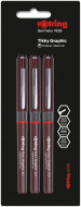 Rotring Tikky Graphic Fineliner Pen Set - 0.1/0.3/0.5mm - Pack of 3