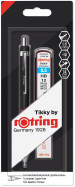 Rotring Tikky Mechanical Pencil - Black Barrel with Leads and Eraser - 0.50mm