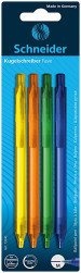 Schneider Fave Ballpoint Pens - Assorted Colours (Blister of 4)