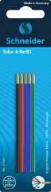 Schneider Take 4 Ballpoint Refills - Assorted Colours (Blister of 5)