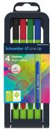 Schneider Line-Up Fineliner Pens - Assorted Colours (Pencil Case of 4)