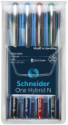 Schneider One Hybrid N Rollerball Pens - 0.3mm - Assorted Colours (Pack of 4)