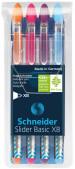 Schneider Slider Basic Ballpoint Pens - Extra Broad - Assorted Colours (Pack of 4)