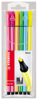 Stabilo Pen 68 Fibre Tip Pen - Assorted Neon Colours (Pack of 6)
