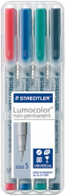 Staedtler Lumocolor Nonpermanent Pens - Superfine -  Assorted Colours (Pack of 4)