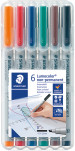 Staedtler Lumocolor Nonpermanent Pen - Broad - Assorted Colours (Pack of 6)