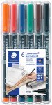 Staedtler Lumocolor Permanent Pen - Superfine - Assorted Colours (Pack of 6)