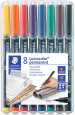 Staedtler Lumocolor Permanent Pen - Superfine - Assorted Colours (Pack of 8)