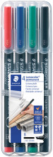Staedtler Lumocolor Permanent Pen - Broad - Assorted Colours (Pack of 4)