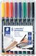 Staedtler Lumocolor Permanent Pen - Broad - Assorted Colours (Pack of 8)