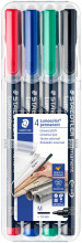 Staedtler Lumocolor Permanent Pen - Medium - Assorted Colours (Pack of 4)