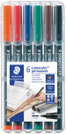 Staedtler Lumocolor Permanent Pen - Medium - Assorted Colours (Pack of 6)