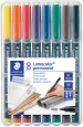 Staedtler Lumocolor Permanent Pen - Medium - Assorted Colours (Pack of 8)