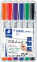 Staedtler Lumocolor Compact Whiteboard Markers - Bullet Tip - Assorted Colours (Pack of 6)