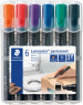 Staedtler Lumocolor Permanent Markers - Chisel Tip - Assorted Colours (Pack of 6)