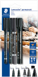 Staedtler Lumocolor Permanent Marker Set  - Assorted Tip Sizes (Blister Pack of 4)