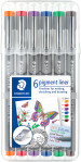 Staedtler Pigment Liner Set - 0.3mm - Assorted Colours (Pack of 6)