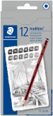 Staedtler Tradition Sketching Pencil Set - Assorted Degrees (Pack of 12)
