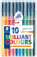 Staedtler Triplus Triangular Fibre Tip Pens - Assorted Colours (Wallet of 10)