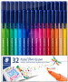 Staedtler Triplus Fibre Tip Pens - Assorted Colours (Wallet of 32)