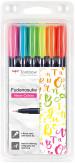 Tombow Fudenosuke Hard Tip Brush Pens - Assorted Colours (Pack of 6)