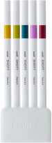 Uni-Ball PEM-SY Emott Fineliner Pens - Retro Colours (Pack of 5) - Picture 1