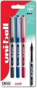 Uni-Ball UB-150 Eye Micro Liquid Ink Rollerball Pens - Assorted Colours (Blister of 3)