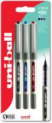Uni-Ball UB-157 Eye Medium Liquid Ink Rollerball Pens - Assorted Colours (Blister of 3)