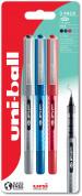 Uni-Ball UB-157D Eye Designer Rollerball Pens - Assorted Colours (Blister of 3)