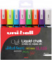 Uni-Ball PWE-5M ChalkGlass Markers - Bullet Tip - Assorted Colours (Pack of 8)