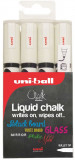 Uni-Ball PWE-5M ChalkGlass Markers - Bullet Tip - White (Pack of 4)