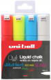 Uni-Ball PWE-8K ChalkGlass Markers - Chisel Tip - Assorted Colours (Pack of 4)