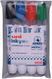 Uni-Ball PWB-202 Inkview Whiteboard Markers - Assorted Colours (Pack of 4)