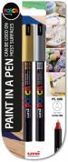 Uni-Ball PC-1MR Posca Ultra Fine Bullet Tip Marker Pens - Gold & Silver